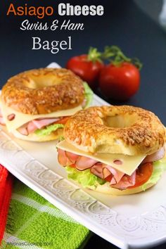 Asiago Cheese Bagel Sandwich I think the bread of any sandwich plays a huge role in how your sandwich tastes and in this case the Chewy Asiago Bagel with ham & swiss cheese is the perfect match. This sandwich is so-ooo goo… Healthy Sandwiches, Delicious Sandwiches, Sandwich Recipes, Lunch Recipes, Gourmet Recipes, Cooking Recipes, Healthy Recipes, Deli Sandwiches, Sandwich Ideas