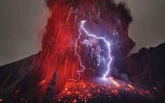 Lightning generated at the summit of erupting Sakurajima Volcano in southern Japan in January 2013. Photo by Martin Rietze.
