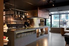Fabulous Restaurant Interior Design With Unique Decorations: Cool Restaurant Interior Design With Contemporary Decoration Ideas Inspiration Industrial Kitchen Design Open And Hanging Storage ~ CELUCH Restaurant Inspiration