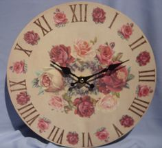 pink shabby chic things | Shabby Vintage Wooden Chic French Style Wall Clock Red & Pink Roses ...