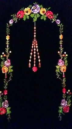 This Pin was discovered by sih Embroidery Works, Crewel Embroidery, Flower Embroidery Designs, Prayer Rug, Love Rose, Christmas Cross, Baby Knitting Patterns, Handicraft, Paper Flowers