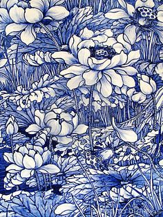 Antique Japanese, cobalt blue, floral pattern porcelain tile panel (detail, ca.1875).
