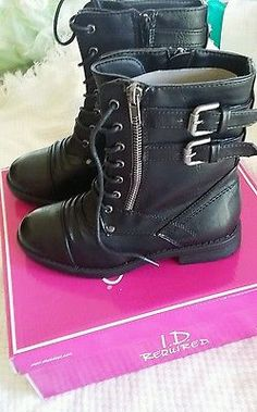 Youth shoe size 2 black size zipper closure combat boots nwb
