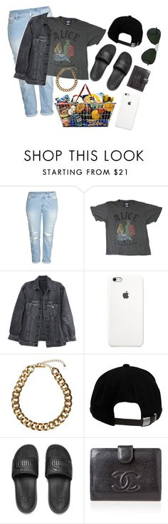 """""""grocery shopping"""" by beaholiveira ❤ liked on Polyvore featuring H&M, Junk Food Clothing, Y/Project, Club Manhattan, Brixton, Puma, Chanel and Ray-Ban"""