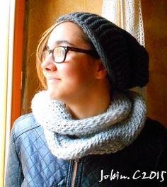 Bonnet + Snood au tricotin géant