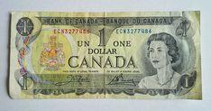 1973 Bank of Canada One Dollar Banknote Queen Elizabeth Paper Cash Money Canadian Penny, Canadian Coins, Canadian Dollar, Rare Coins Worth Money, Valuable Coins, One Dollar, Dollar Bills, Rare Pennies, Old Money