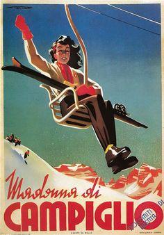 """Franz J. Lenhart, poster pubblicitari Dolomiti neve inverno - winter snow dolomites advertisement posters / """"Madonna di Campiglio"""", anni Trenta"""
