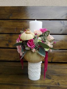 Flowers of Soul: Aranjamente de Toamnă / Halloween Pumpkin Arrangements, Baptism Candle, Candles, Table Decorations, Halloween, Flowers, House, Home Decor, Blue Prints