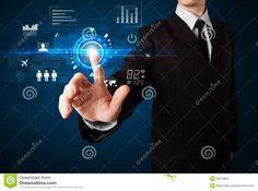 Businessman touching future web technology