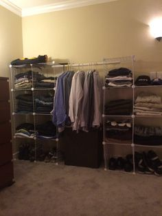Wire cubes and pvc pipe for area with limited or no closet space.