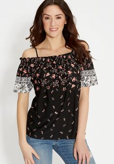 cold shoulder tee in floral print
