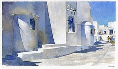 greek street 2 by Thomas  W. Schaller Watercolor ~ 10 inches x 14 inches