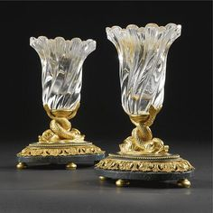 A pair of Russian ormolu-mounted rock crystal and jasper small vases 19th century