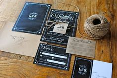Chalkboard wedding invitations www.facebook.com/harlancreative