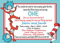 Thing 1 and Thing 2-Dr. Seuss Birthday by ASweetCelebration