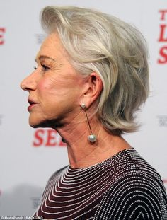 Age defying: Helen Mirren, looked incredible as she showed off her smooth complexion at the New York premiere of her new movie The Leisure Seeker on Thursday Mature Women Hairstyles, Over 60 Hairstyles, Mom Hairstyles, Haircuts, Hair Styles For Women Over 50, Medium Hair Styles, Curly Hair Styles, Short Grey Hair, Short Hair Cuts