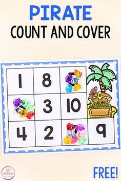 Free Printable Activities for Kids This pirate counting math activity is a fun way to learn numbers and counting in preschool and kindergarten. Pirate Preschool, Pirate Activities, Counting Activities, Printable Activities For Kids, Preschool Printables, Kindergarten Activities, Preschool Activities, Preschool Names, Geography Activities
