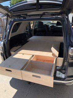 Truck Bed Camping, Minivan Camping, Jeep Camping, Truck Bed Drawers, Truck Bed Storage, Truck Bed Box, Vehicle Storage, Camping Storage, Minivan Camper Conversion