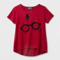 Harry Potter Girls' Harry Potter Glasses Graphic Short Sleeve T-Shirt - Red #hp #harrypotter #hogwarts #glasses #lightningbolt #lightning #bolt #shirt #red #black #graphic #tee #tshirt #clothes #apparel #harry #potter #nerd #fandom #hipster #kids #teen #books #jkrowling #wizard #magic  #gift #giftideas #afflink