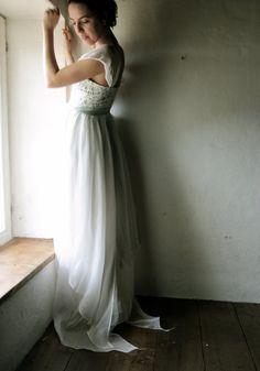 Wedding Dress  Bridal Gown ivory and aqua grey silk by larimeloom, €550.00