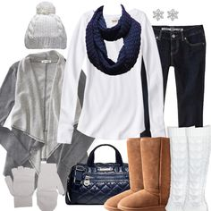 Cute Winter Outfit!- I would prefer the handbag to be a shoulder bag and the boots to be dark gray!  Otherwise, an easy livng-comfortable style!-MFB