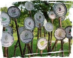 Signs for the garden made from tin lids