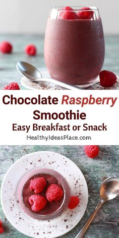 Chocolate Raspberry Smoothie makes an easy healthy snack or breakfast. Morespecifically its a dark chocolate raspberry smoothie. Decadent and deliciousand perfect for breakfast brunch or an afternoon snack. Fruit Smoothie Recipes, Raspberry Smoothie, Easy Smoothies, Breakfast Smoothies, Raspberry Recipes Healthy, Drink Recipes, Healthy Recipes, Smoothie Drinks, Vegetarian Recipes