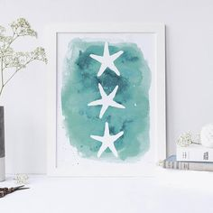 Looking to add a nautical flair to your home or nursery? Look no further! This beautiful aqua watercolor starfish print will bring good vibes right to your home. Looking for the digital download version? Find it here: https://www.etsy.com/listing/227756204 Each print is carefully made in California with the highest quality materials, providing for crisp and vibrant colors. Every print is printed on 100% pure cotton Savoy 20 pt. fine art paper (320 GSM) with archival grade...
