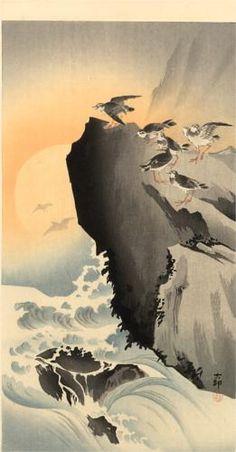 Ohara Koson (1877-1945)   Sandpipers and Moon