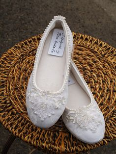 Ivory Wedding Flat Shoes Hand sewn pearls edging and applique. $89.00, via Etsy.