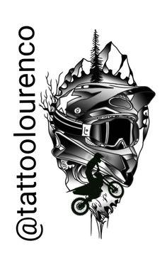 Biker Tattoos, Motorcycle Tattoos, Tribal Tattoos, Motocross Tattoo, Dirt Bike Tattoo, Kadu Tattoo, Dirt Bike Riding Gear, Motorbike Drawing, Transférer Des Photos