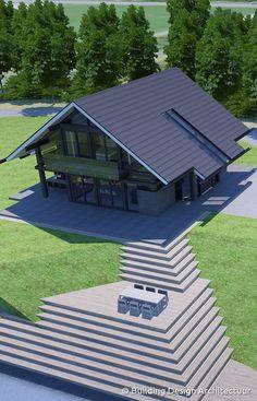 Moderne vrijstaande woning © Building Design Architectuur Carriage House Garage, Stair Steps, Roof Repair, Metal Homes, Building Design, Bungalow, Beach House, Architecture Design, House Plans