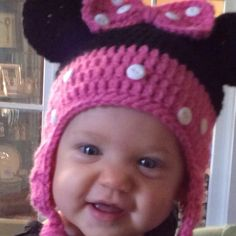 Minnie Mouse Hat with Earflaps and Braids