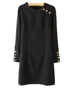 Retro Black Dress with Golden Button and Black Leather Trim