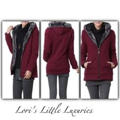 Lined Warm Hoodie Medium  Super Gift - Full Zip Hoodie Jacket with two front pockets and super soft lining - color Wine - the black is no longer available Jackets & Coats