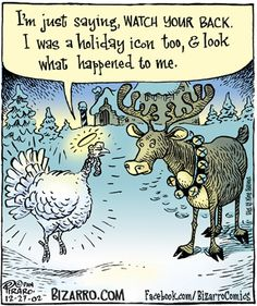 Bizarro: I'm just saying WATCH YOUR BACK. I was a holiday icon too, and look what happened to me. Funny Christmas Cartoons, Christmas Jokes, Christmas Icons, Funny Cartoons, Funny Comics, Christmas Fun, Funny Memes, Hilarious, Funny Quotes