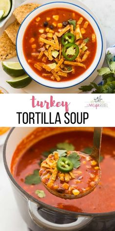 Easy Turkey Tortilla Soup and how to make homemade turkey stock from a turkey carcass! The best use of leftover turkey full of flavor and easy to make! Best Soup Recipes, Healthy Soup Recipes, Easy Healthy Dinners, Chili Recipes, Turkey Recipes, Mexican Food Recipes, Cooking Recipes, Ethnic Recipes, Favorite Recipes