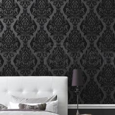 LLB Real Flock Black Damask Wallpaper 'Kinky Vintage' Full Roll by 4YourWalls, http://www.amazon.co.uk/dp/B005DERQDW/ref=cm_sw_r_pi_dp_EOwdrb00EZGVA