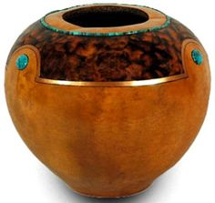 Gourd art by Gloria Crane inverted gourd with burled wood look and stone inlay - stunning workmanship