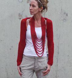 red shrug / long sleeved iLE AiYE shrug by ileaiye on Etsy,