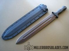 Miller Bros. Blades Customized M-18 short sword. This model is available in Z-Wear PM, CPM 3V, CPM S35VN, Z-Tuff PM and 5160 steels Miller Bros. Blades Custom Handmade Knives, Swords & Tomahawks.