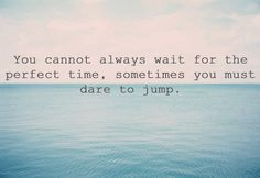 You cannot always wait for the perfect time, sometimes you must dare to jump.