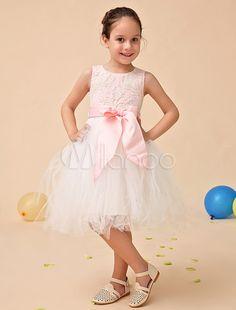 e36f37cac1dc8 Robe de fille de fleur en tulle ivoire avec dentelle et nœud rose