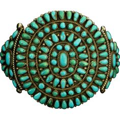 1950's Native American cluster turquoise bracelet