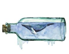Watercolor Whale and Boat Print Painting by TheColorfulCatStudio