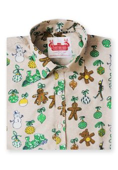 Gingerbread Party Christmas Shirt in Beige & Green