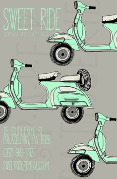 This hand-drawn, graphic pop Vintage Vespa Poster is sure to catch the eye! This listing includes insertion of your text + your image