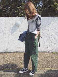 完全保存版♡ママなのにママに見えないコーデのコツ - LOCARI(ロカリ) Olive Clothing, Dress Code Casual, Spring And Fall, Dress Codes, Capsule Wardrobe, Parachute Pants, Stripes, Womens Fashion, How To Wear