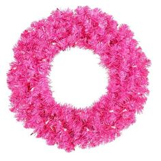 """36"""""""" Pre-Lit Sparkling Hot Pink Tinsel Artificial Christmas Wreath - Pink Lights"""