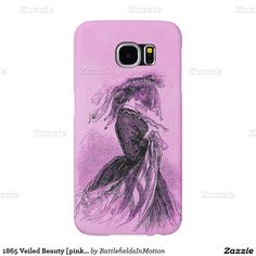 """1865 Veiled Beauty [pink] - Samsung Galaxy S6 Cases - Small woodcut-engraving taken from the January 7, 1865 edition of Frank Leslie's Illustrated Newspaper, depicting a veiled young woman -- dubbed the """"mysterious fair one"""" by that newspaper's editors. #civilwar #fashion"""